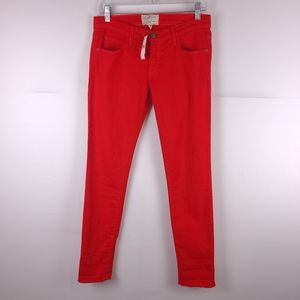 Current Elliot Red Rolled Skinny Jeans Size 27